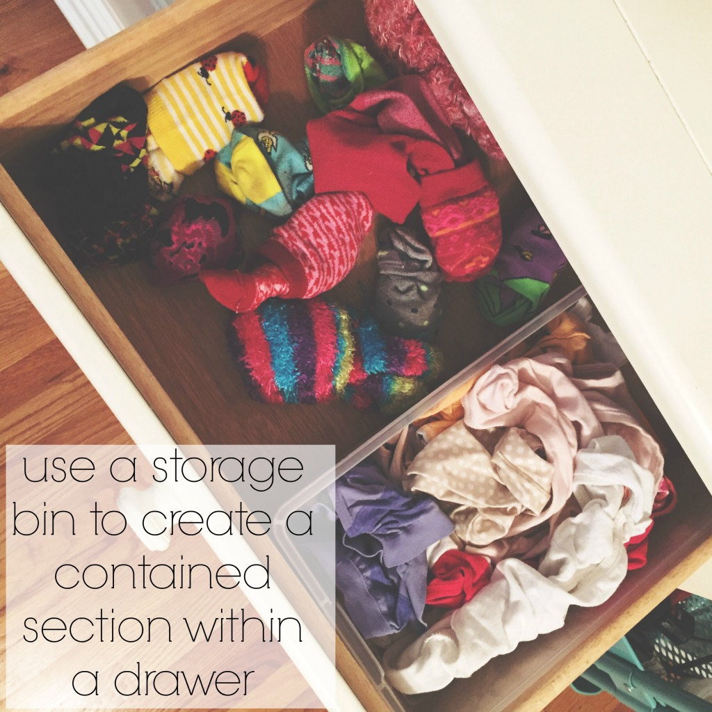 use a storage bin to create a contained section within a drawer