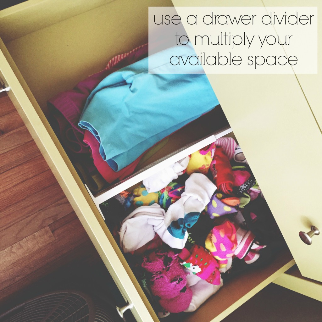 use a drawer divider to multiply your available space